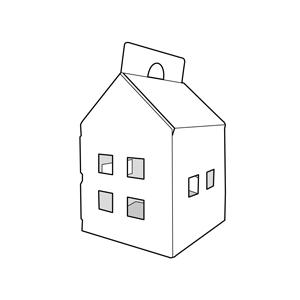 caixa amb forma de casa. Envasos personalitzats